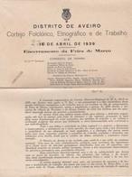 PORTUGAL - AVEIRO - CORTEJO FOLCLÓRICO, ETNOGRÁFICO E DO TRABALHO 1939 - ENCERRAMENTO DA FEIRA DE MARÇO - Programs