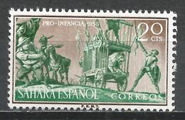 Spanish Sahara 1958. Scott #90 (M) Don Quixote And The Lion * - Sahara Espagnol