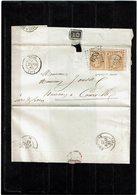 LCA4 - NAPOLEON III 10c EN PAIR HORIZ. SUR LSC VARIETE PIQUAGE A CHEVAL - 1862 Napoleon III