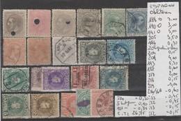 LOT DE TIMBRES DE L ESPAGNE OBLITEREES Nr VOIR SUR PAPIER AVEC TIMBRES COTE 26.75€ - 1875-1882 Royaume: Alphonse XII