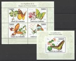 X336 2010 UNION DES COMORES BUTTERFLIES PAPILLONS DE L'OCEAN INDIEN 1KB+1BL MNH - Schmetterlinge