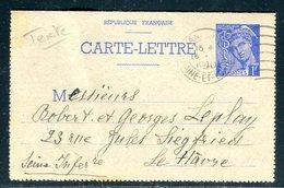 Entier Postal Type Mercure De Angers Pour Le Havre En 1940 - Ref M1 - Entiers Postaux