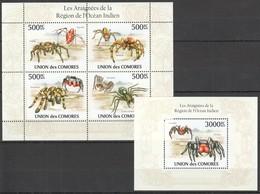 X338 2010 UNION DES COMORES FAUNA SPIDERS ARAIGNEES DE L'OCEAN INDIEN 1KB+1BL MNH - Spinnen