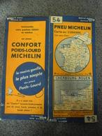 Carte MICHELIN De 1933 - BIBENDUM FRANCE Cherbourg Rouen N° 54 Pub Confort Pneu Poids Lourd Michelin (1cm Pour 2 Km) - Cartes Routières