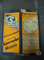 Carte MICHELIN De 1933 - BIBENDUM FRANCE Verdun Sarrebruck N° 57 Pub Confort Pneu Superconfort Michelin (1cm Pour 2 Km) - Roadmaps