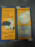 Carte MICHELIN De 1929 - BIBENDUM FRANCE Chaumont Strasbourg N° 62 Pub Pneus Trop Petits Meurent Vite (1cm Pour 2 Km) - Roadmaps