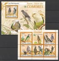 X383 2009 UNION DES COMORES FAUNA BIRDS LES PERROQUETS PARROTS 1KB+1BL MNH - Perroquets & Tropicaux