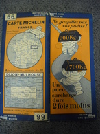 Carte MICHELIN De 1928 - BIBENDUM FRANCE Dijon Mulhouse N° 66 Pub Pneus Surchargés (1cm Pour 2 Km) - Roadmaps