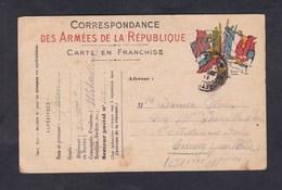 Carte Franchise Militaire Guerre 14-18 Correspondance Garin Du 311 311è Regiment (Infanterie ?) Mitrailleur Vers Cimiez - Military Service Stampless