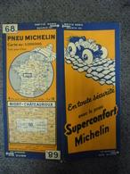 Carte MICHELIN De 1934 - BIBENDUM FRANCE Niort Châteauroux N° 68 Pub Pneus Superconfort (1cm Pour 2 Km) - Roadmaps