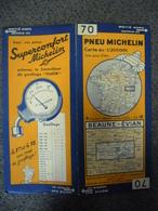 Carte MICHELIN De 1934 - BIBENDUM FRANCE Beaune Evian N° 70 Pub Pneus Superconfort Contrôleur Gonflage (1cm Pour 2 Km) - Roadmaps