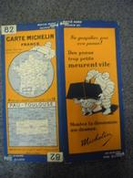 Carte MICHELIN De 1930 - BIBENDUM FRANCE Pau Toulouse N° 82 Pub Pneus Trop Petits Meurent Vite (1cm Pour 2 Km) - Roadmaps