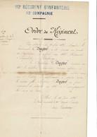ORDRE DU REGIMENT  113 E REGIMENT D INFANTERIE 12 E Compagnie Delivrer A Blois Le 10 Juin 1896 - Documents