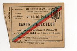 75--PARIS - Carte D'électeur Du 18 Fevrier 1923 - Maps