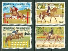 Centrafrique 1983 Yv PA 276/79, Mi 956/59 Obl.  Concours Hippique - Olympic Games - Centrafricaine (République)