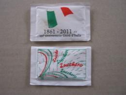 SUGAR FULL BUSTINA ZUCCHERO PIENA - ITALIA 2 Pz. 1861 2011 150° UNITA' ITALIA COMMEMORATIVA - Sugars