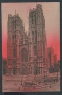 +++ CPA - BRUSSEL - Coucher De Soleil Sur BRUXELLES - Eglise St Gudule  // - Bruxelles La Nuit