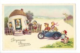 19855 - Joyeuses Pâques Side Car Poussins Maison - Pâques