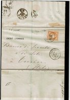 "LCA4 - CERES 40c SUR LSC LYON / TURIN 22/1/1875 CACHET ""PD"" PENCHE - 1870 Assedio Di Parigi"