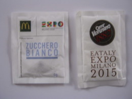 SUGAR FULL BUSTINA ZUCCHERO PIENA - ITALIA 2 Pz. EXPO 2015 CAFFE VERGNANO TORINO + MC DONALDS - Zucchero (bustine)