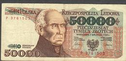 POLAND P153 50.000 ZLOTYCH 1989 AVF NO P.h. ! - Polen