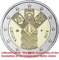 LITUANIA - 2 Euro 2018 - Stati Baltici - UNC - Lituania