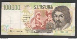100.000 Lire 1995 Caravaggio II° Tipo Repubblica Italiana 100000 - [ 2] 1946-… : Républic