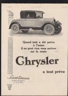 Pub 1926 Voiture Automobile CHRYSLER  Automobiles Voitures - Advertising