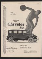Pub 1926 Voiture Automobile CHRYSLER Automobiles Voitures Athlete Lanceur Disque - Advertising