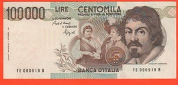 100.000 Lire 1992 Caravaggio I° Tipo Repubblica Italiana 100000 - 100.000 Lire