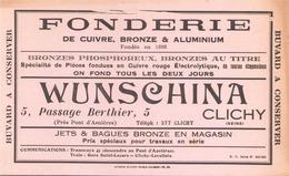 "Buvard "" Fonderie Wunchina à Clichy "" ( 21.5 X 13.5 Cm, Pliures, Taches ) - Blotters"