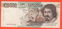 100.000 Lire 1986 Caravaggio I° Tipo Repubblica Italiana 100000 - 100.000 Lire