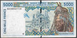 W.A.S. LETTER C BURKINA FASO  P313Cl 5000 FRANCS (20)02 XF-AU - États D'Afrique De L'Ouest