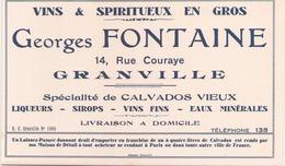 Buvard Georges Fontane à Granville Vins & Spiritueux En Gros ( 21 X 13 Cm ) - Buvards, Protège-cahiers Illustrés