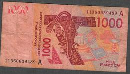 W.A.S. LETTER A IVORY COAST  P115Ai ?  1000 FRANCS (20)11 F-VF NO P.h. ! - West African States