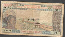 W.A.S. LETTER A IVORY COAST  P108Ap  5000 FRANCS 1987 F-VF NO P.h. ! - West African States