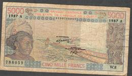 W.A.S. LETTER A IVORY COAST  P108Ap  5000 FRANCS 1987 F-VF NO P.h. ! - États D'Afrique De L'Ouest