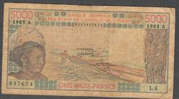 W.A.S. LETTER A IVORY COAST  P108An  5000 FRANCS 1985 F-VF NO P.h. ! - États D'Afrique De L'Ouest