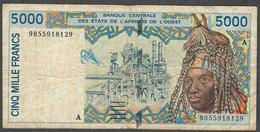 W.A.S. LETTER A IVORY COAST  P113Ah  5000 FRANCS (19)98 Signature 29 F-VF Only 1 P.h. ! - West African States
