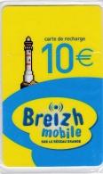 Phare Télécarte Neuve De 10 €  BREIZH MOBILE  Dans Son Blister  . - Phares