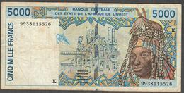 W.A.S. LETTER K SENEGAL  P713Ki  5000 FRANCS (19)98 Signature 29 FINE - West African States