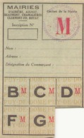 Ticket De Rationnement Puy-de-Dôme - Documents