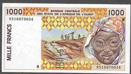 W.A.S. LETTER B BENIN  P211Bf  1000 FRANCS (19)95 AU-UNC - West African States