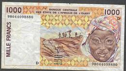 W.A.S. LETTER D MALI  P411Dh  1000 FRANCS (19)98 VF NO P.h. ! - États D'Afrique De L'Ouest