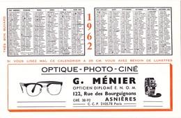 BUVARD RIGIDE épais De 1962 (calendrier) Optique Photo Ciné Asnières (92) G. Ménier - Buvards, Protège-cahiers Illustrés
