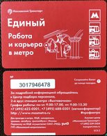 Russia 2018 1 Ticket Moscow Metro Bus Trolleybus Tramway Work And Career In The Subway - Subway