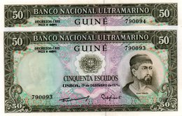 BANCONOTA GUINEEA PORTUGHESA 50 ESCUDOS 1971 P-44a CONSECUTIVE-UNC-BANCO NACIONAL ULTRAMARINO - Equatorial Guinea