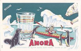 BUVARD Moutarde AMORA - Phoque Esquimau Ours Polaire Canoé Kayak - Mostard