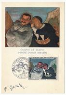 FRANCE - Carte Maximum - 1,00F DAUMIER / Crispin Et Scapin - Premier Jour - Marseille 1966 Signée Gandon - 1960-69