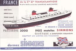 BUVARD Matelas Simmons Paquebot France Bateau Navire Compagnie Transatlantique Marine Marchande 31 Noeuds 2000 Passagers - Buvards, Protège-cahiers Illustrés
